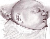 Schlafendes kind, Portrait, Zeichnung, Zeichnungen