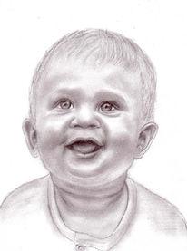 Zeichnung, Portrait, Zeichnungen, Lächeln