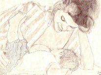 Zeichnung, Portrait, Zeichnungen, Mutter
