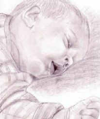 Portrait, Zeichnung, Schlafendes kind, Zeichnungen