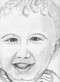 Portrait, Kind, Zeichnung, Lachen