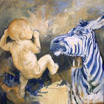 Baby, Malerei, Streifen, Gelb