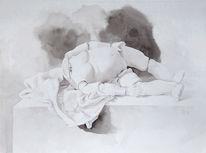 Stillleben, Tuch, Puppe, Zeichnung
