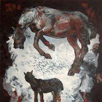 Pferde, Grün, Malerei, Fohlen