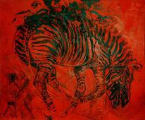Rot, Zebra, Figural, Malerei
