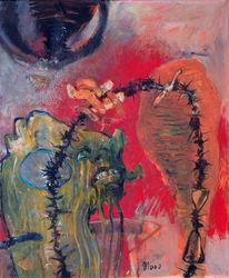 Malerei, Figural, Stacheldraht