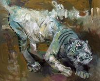Ocker, Grün, Malerei, Tiger
