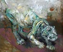 Malerei, Weiß, Ocker, Tiger
