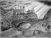 Zeichnung, Landschaft, Brücke, Zeichnungen