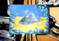 Surreal, Pyramide, Malerei, Acrylmalerei