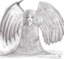 Zeichnung, Skizze, Engel, Zeichnungen