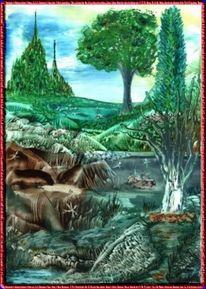 Grün, Kreislauf, Encaustic, Malerei