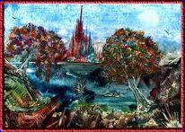 Encaustic, Fantasie, Malerei, Landschaft