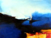 Abstrakt, See, Blau, Hügel