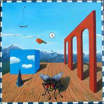 Wolken, Würfel, Fliege, Surreal