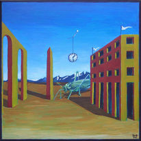 Malerei, Surreal, Obelisk, Heuschrecke