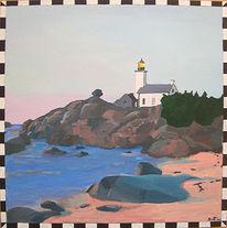 Meer, Malerei, Landschaft, Leuchtturm