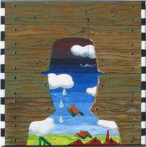 Landschaft, Surreal, Melonenmann, Malerei