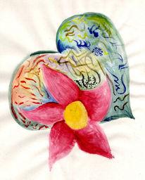 Blumen, Schatz, Herz, Malerei