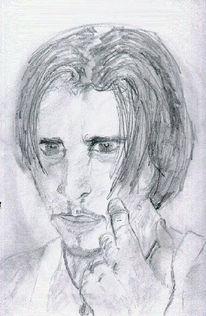 Nachdenklich, Zeichnung, Mann, Bleistiftzeichnung