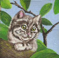 Katze, Blätter, Malerei, Tiegerkatze