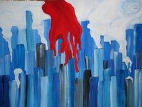Abstrakt, Malerei, Weiß, Rot