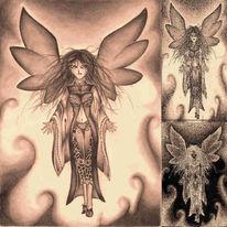 Zeichnung, Fee, Manga, Dunkel