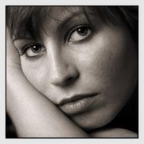 Monochrom, Frau, Fotografie, Portrait