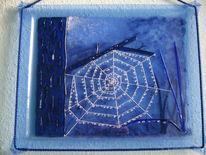 Hellblaues, Kunsthandwerk, Glasteilen, Glas