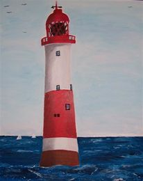 Malerei, Landschaft, Meer, Leuchtturm