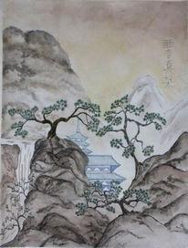Malerei, Japanisch, Tempel, Tuschezeichnung