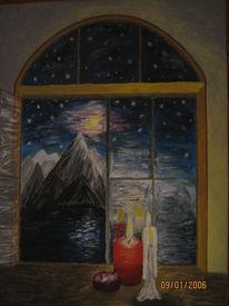 Fenster, Kerzen, Malerei, Nacht