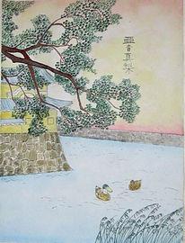Morgen, Malerei, Ente, Japanisch