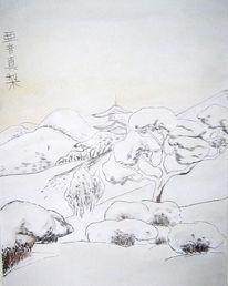 Malerei, Schneelandschaft, Winter, Japanisch