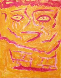 Abstrakt, Malerei, Gelb, Gesicht