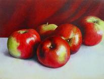 Apfel, Stillleben, Faltenwurf, Malerei