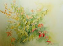 Blätter, Laub, Baum, Grafikaquarell