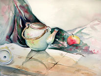 Tee, Kanne, Apfel, Tisch
