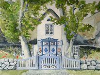 Bauernhaus, Blumen, Blau, Landschaft