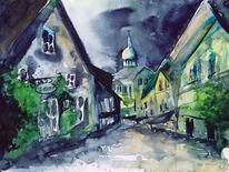 Straße, Landschaft, Haus, Aquarellmalerei