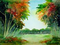 Malerei, Bunt, Landschaft, Blätter