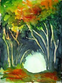 Landschaft, Blätter, Malerei, Wald