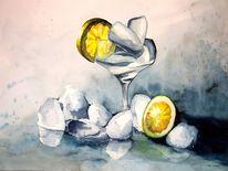Eis, Aquarellmalerei, Stillleben, Zitrone