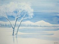 Baum, Landschaft, Winter, Blau