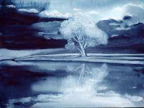 Malerei, See, Abend, Kühl