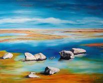 Stein, Ölmalerei, Landschaft, Maritim