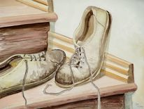 Schuhe, Braun, Aquarellmalerei, Stillleben