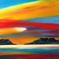 Schottland, Ölmalerei, Meer, Wolken