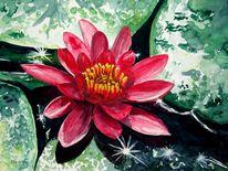 Pflanzen, Teich, Malerei, Wasser