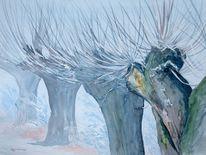 Aquarellmalerei, Kopfweide, Baum, Nebel